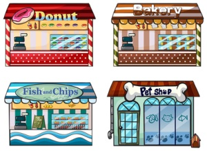 A donut store, bakery, fish and chips store and a pet shop