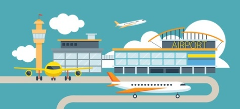 Plane and Airport Flat Design Illustration Icons Objects